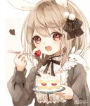 1girl :3 animal animal_ears blonde_hair brown_eyes cake commentary eating food fork fruit gothic_lolita holding lolita_fashion looking_at_viewer medium_hair open_mouth original plate puffy_sleeves rabbit rabbit_ears simple_background strawberry strawberry_shortcake tukimisou0225 upper_body