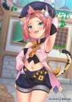 1girl animal_ears arm_up armpits barrel blush breasts building cat_ears cat_tail detached_sleeves diona_(genshin_impact) fang genshin_impact gloves green_eyes hair_ornament half-closed_eyes hand_on_hip hat highres long_sleeves looking_at_viewer midriff mir_fille_de_meiou navel open_mouth patreon_username pose short_hair shorts sleeveless small_breasts smile tail tied_hair window
