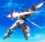 beam_saber d-1 holding holding_sword holding_weapon kikou_senki_dragonar looking_up mecha mechanical_wings no_humans platin_(alios) pointing science_fiction sky solo sword weapon wings yellow_eyes