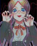 1girl bangs bbjj_927 blue_border blue_eyes blue_hair border breasts commentary_request crazy_eyes danganronpa_(series) danganronpa_v3:_killing_harmony double-breasted glasses hands_up heart heart_of_string highres holding jacket large_breasts long_hair long_sleeves looking_at_viewer open_mouth parted_bangs red_border red_ribbon ribbon semi-rimless_eyewear shirogane_tsumugi shirt skirt smile solo string string_of_fate tongue tongue_out upper_body white_shirt