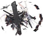 1girl animal_ears azur_lane black_cape black_gloves black_legwear blue_eyes burnt_clothes cape fingerless_gloves flight_deck gloves highres hiryuu_meta_(azur_lane) long_hair looking_at_viewer official_art open_mouth pleated_skirt rabbit_ears rigging skirt smile solo sword thigh-highs transparent_background very_long_hair weapon white_hair white_skirt xiao_(ye_yiaoxi)