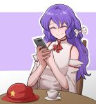 1girl bare_shoulders chair closed_eyes cup detached_sleeves dolls_in_pseudo_paradise english_commentary flat_cap hat highres label_girl_(dipp) long_hair mata_(matasoup) phone purple_background purple_hair red_ribbon ribbon screen_light shirt simple_background sitting smile solo star_(symbol) table tea teacup touhou vest white_background white_ribbon white_shirt white_vest