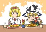 2girls :q :t alice_margatroid bangs black_headwear black_vest blonde_hair blue_dress blush bow broccoli capelet concentrating cup dress eating flying_sweatdrops food food_writing frilled_hairband frills hair_bow hairband hat hat_bow highres holding holding_spoon inuno_rakugaki ketchup ketchup_bottle kirisame_marisa long_hair long_sleeves multiple_girls omurice red_bow red_hairband saucer shanghai_doll shirt short_hair short_sleeves spoon steam tongue tongue_out touhou v-shaped_eyebrows vest white_bow white_capelet white_shirt witch_hat yellow_eyes