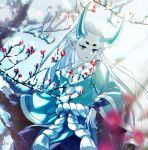 1boy aki963852 aqua_eyes aqua_hair branch flower highres horns long_hair long_sleeves pointy_ears red_flower rope snow solo the_legend_of_luo_xiaohei upper_body wide_sleeves xuhuai_(the_legend_of_luoxiaohei)