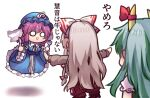 3girls bangs blocking blue_headwear blue_kimono blue_sash bow empty_eyes ex-keine floating fork from_behind fujiwara_no_mokou green_hair grey_hair hair_bow hat holding holding_fork holding_knife horn_ornament horn_ribbon horns japanese_clothes kamishirasawa_keine kimono knife long_hair long_sleeves mob_cap multiple_bows multiple_girls ofuda_on_clothes open_mouth pink_hair red_ribbon ribbon saigyouji_yuyuko sash short_sleeves simple_background smile standing t-pose touhou translation_request triangular_headpiece unime_seaflower white_background white_bow white_eyes
