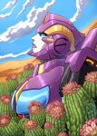 1girl autobot cactus clouds cosmicdanger desert english_commentary looking_up mecha nautica no_humans parted_lips purple_lips sky solo the_transformers_(idw) transformers upper_body