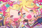 1boy 1girl bandaid bandaid_on_cheek bandaid_on_face black_sailor_collar blonde_hair blue_nails fang fangs green_eyes hair_ornament hairclip half-closed_eye highres jewelry kagamine_len kagamine_rin long_sleeves necklace nokodaru_marin open_mouth rainbow ring sailor_collar smile star_(symbol) vocaloid