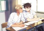 2boys :d amuro_tooru bangs black_pants blonde_hair blue_eyes blurry blush brown_hair buttons chair classroom closed_mouth collared_shirt commentary_request curtains depth_of_field desk dress_shirt eraser eye_contact hair_between_eyes holding holding_pencil indoors k_(gear_labo) kudou_shin'ichi looking_at_another male_focus mechanical_pencil meitantei_conan multiple_boys notebook on_chair open_mouth pants pencil school_chair school_desk school_uniform shirt short_hair short_sleeves sitting sleeves_rolled_up smile what_if white_shirt window
