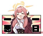 aru_(blue_archive) blue_archive blush brown_hair closed_eyes commentary_request gloves halo horns jacket junsuina_fujunbutsu laughing long_hair military military_uniform open_mouth signature sticker translation_request uniform white_background white_gloves