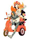 1girl 3boys animal_ears bangs black_legwear blunt_bangs bubble_blowing cat_boy cat_ears chewing_gum denim double_bun fox_ears fox_girl fox_tail ground_vehicle highres jeans long_hair long_sleeves luoman19921 luoxiaohei moped motor_vehicle multiple_boys nezha_(the_legend_of_luoxiaohei) orange_hair pants profile ruoshui_(the_legend_of_luoxiaohei) see-through_jacket shoes short_hair simple_background tail the_legend_of_luo_xiaohei torn_clothes torn_jeans torn_pants white_background white_hair wuxian_(the_legend_of_luoxiaohei)
