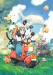 1girl 6+boys animal_ears bangs black_hair blue_sky bracelet cat_boy cat_ears cat_tail child clouds cloudy_sky coolcoolbibo double_bun eating english_commentary fengxi_(the_legend_of_luoxiaohei) food fox_ears fox_girl fox_tail fruit grass green_eyes ground_vehicle helmet highres jewelry long_hair luoxiaohei moped motor_vehicle multiple_boys nezha_(the_legend_of_luoxiaohei) orange_hair outdoors plant ruoshui_(the_legend_of_luoxiaohei) shadow sky tail the_legend_of_luo_xiaohei waving white_hair wuxian_(the_legend_of_luoxiaohei)