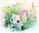 claws closed_mouth commentary_request dated fang fang_out gen_1_pokemon highres ivysaur kikuyoshi_(tracco) leaf no_humans pokemon pokemon_(creature) red_eyes signature solo standing traditional_media watercolor_(medium)