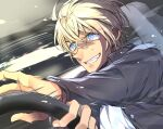 1boy amuro_tooru bangs black_jacket blonde_hair blue_eyes car_interior car_seat commentary crazy_grin crazy_smile dreaming182 driving fingernails from_side grin hair_between_eyes jacket long_sleeves looking_to_the_side male_focus meitantei_conan open_clothes open_jacket shirt short_hair smile solo speed_lines steering_wheel sweat teeth upper_body white_shirt