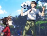 2boys :d ball bangs belt black-framed_eyewear black_belt blue_eyes blue_sky blurry blurry_background brown_eyes brown_hair casual child clouds collared_shirt commentary_request dappled_sunlight day edogawa_conan from_side glasses green_pants hands_up height_difference k_(gear_labo) kazami_yuuya looking_at_another looking_at_object male_focus meitantei_conan multiple_boys necktie open_mouth outdoors pants playing_sports purple_neckwear red_shirt shirt shirt_tucked_in short_hair short_sleeves sky sleeves_rolled_up smile soccer_ball sport standing sunlight sweatdrop tree white_shirt