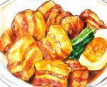 cubakitutuki egg food food_focus halfboiled_egg meat no_humans original plate simple_background still_life vegetable