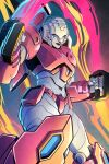1girl arcee autobot blue_eyes cosmicdanger dual_wielding energy_sword highres holding looking_down mecha no_humans science_fiction smirk solo sword the_transformers_(idw) transformers weapon