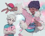 2boys ahoge alternate_costume bangs bede_(pokemon) blush closed_eyes collared_shirt commentary_request crossed_arms curly_hair dark_skin dark_skinned_male eyelashes fur-trimmed_jacket fur_trim holding holding_poke_ball hop_(pokemon) jacket korean_commentary male_focus mikripkm multiple_boys open_mouth pink_jacket poke_ball poke_ball_(basic) pokemon pokemon_(game) pokemon_swsh shirt short_hair smile sweat teeth tongue