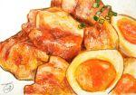 cubakitutuki egg food food_focus garnish hardboiled_egg highres meat no_humans original simple_background spring_onion still_life traditional_media white_background