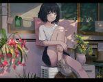 1girl :t black_hair blue_eyes clothesline flower highres kgt_(pixiv12957613) miniskirt original shirt shoes short_hair sitting skirt sneakers solo t-shirt vase