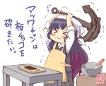 >_< 1girl alternate_costume anchor apron artist_logo black_hair bowl chocolate commentary_request cowboy_shot dated gradient_hair grey_skirt grey_sweater heavy highres kanon_(kurogane_knights) kantai_collection long_hair matsuwa_(kancolle) multicolored_hair pleated_skirt purple_hair simple_background skirt sleeves_past_wrists solo sweater table translation_request wavy_mouth white_background yellow_apron you're_doing_it_wrong