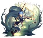 1boy absurdres animal asymmetrical_bangs asymmetrical_clothes bangs belt bird blue_hair bodysuit_under_clothes bracelet braid braided_ponytail cape child cu_chulainn_(fate)_(all) dagger earrings fate/grand_order fate/grand_order_arcade fate_(series) floating_hair forest full_body highres holding holding_staff hood hooded_cape jewelry leg_warmers long_hair looking_to_the_side male_focus nature one_eye_closed open_mouth outdoors ponytail puffy_pants red_eyes sandals scabbard setanta_(fate) sheath smile solo spiky_hair staff twitter_username weapon yaosan233