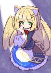 1girl :o animal_ear_fluff animal_ears bangs black_jacket blonde_hair blue_skirt blush bow eyebrows_visible_through_hair feathered_wings frilled_skirt frills green_eyes hair_ornament hairclip hands_clasped hands_up highres ichi interlocked_fingers jacket long_sleeves looking_at_viewer original own_hands_together parted_lips red_bow shirt sketch skirt solo white_shirt wide_sleeves wings yellow_wings