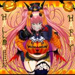 1girl ascot bangs black_headwear breasts cropped_legs crossed_legs eyebrows_visible_through_hair facial_tattoo fang green_eyes gundam halloween happy_halloween haro hat highres ill_(0022) jack-o'-lantern large_breasts long_hair looking_at_viewer mini_hat original personification pointing pointing_at_viewer smirk solo tattoo thick_thighs thigh-highs thighs twintails v-shaped_eyebrows very_long_hair white_neckwear