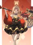 1girl bangs bare_shoulders black_bow black_choker blonde_hair blunt_bangs bow choker commentary_request eyebrows_visible_through_hair fangs foot_up full_body hammer highres holding holding_hammer hood large_bow little_red_riding_hood_(sinoalice) long_hair long_sleeves looking_at_viewer neon_(pixiv_31150749) open_mouth pillarboxed red_nails sinoalice smile solo upper_teeth yellow_eyes