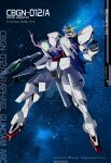 absurdres artist_name arvistaljik ayhelenk beam_cannon character_name clenched_hand collaboration english_commentary floating green_eyes gun gundam gundam_00 gundam_build_divers gundam_raphael gundam_raphael_arc highres holding holding_gun holding_weapon looking_up mecha no_humans redesign solo v-fin watermark weapon web_address