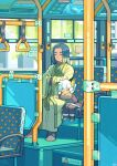 2boys abyff14 animal_ears black_hair bus bus_interior cat_boy cat_ears closed_eyes green_robe ground_vehicle highres long_sleeves luoxiaohei motor_vehicle multiple_boys robe sitting sleeping the_legend_of_luo_xiaohei white_hair wide_shot wide_sleeves window wuxian_(the_legend_of_luoxiaohei)