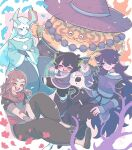 5boys animal_ears aqua_eyes aqua_hair black_hair black_pants blush brown_hair cat_boy cat_ears cat_tail closed_eyes eyebrows_visible_through_hair fengxi_(the_legend_of_luoxiaohei) hair_over_one_eye hat highres horns jewelry long_hair long_sleeves luoxiaohei luozhu_(the_legend_of_luoxiaohei) multiple_boys necklace nonna-himaneta open_mouth outline pants pointy_ears purple_hair short_hair short_sleeves smile tail the_legend_of_luo_xiaohei tianhu_(the_legend_of_luoxiaohei) very_long_hair white_outline wide_sleeves xuhuai_(the_legend_of_luoxiaohei)