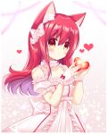 1girl animal_ear_fluff animal_ears bangs bare_shoulders blush bow cat_ears closed_mouth collarbone commentary_request detached_sleeves dress eyebrows_visible_through_hair floating_hair hair_between_eyes hair_bow hands_up heart highres holding long_hair looking_at_viewer original puffy_short_sleeves puffy_sleeves red_eyes redhead shikito short_sleeves sleeveless sleeveless_dress solo very_long_hair white_bow white_dress white_sleeves