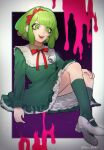 1girl :d absurdres bangs baru_(bar_0405) border bow commentary_request crazy_eyes danganronpa_(series) danganronpa_another_episode:_ultra_despair_girls dress frills green_dress green_eyes green_hair green_legwear hair_bow highres invisible_chair kneehighs long_sleeves looking_at_viewer mary_janes monaka_(danganronpa) multicolored multicolored_background neck_ribbon open_mouth pink_blood purple_background red_bow red_ribbon ribbon shoes short_hair sitting smile solo upper_teeth white_border white_footwear