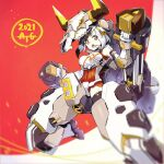 1girl 2021 :o black_hair breasts chinese_zodiac clenched_hands covered_navel degarashi_(ponkotsu) eyebrows_visible_through_hair horns looking_down mecha_musume medium_breasts multicolored_hair orange_eyes original science_fiction short_hair solo v-shaped_eyebrows white_hair year_of_the_ox