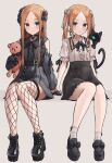 2girls abigail_williams_(fate) abigail_williams_(swimsuit_foreigner)_(fate) bangs black_bow black_cat black_dress black_footwear blonde_hair blue_eyes blush bow breasts cat dress dual_persona earrings fate/grand_order fate_(series) hair_bow jewelry kopaka_(karda_nui) legs long_hair looking_at_viewer multiple_girls parted_bangs simple_background sitting small_breasts smile stuffed_animal stuffed_toy teddy_bear twintails
