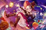 1girl boots candy clouds corrin_(fire_emblem) corrin_(fire_emblem)_(female) fire_emblem fire_emblem_fates food halloween_costume hashiko_(neleven) hat high_heel_boots high_heels jack-o'-lantern long_hair long_sleeves open_mouth red_eyes sky solo twitter_username white_hair witch_hat