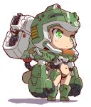 1girl android chibi clenched_hands green_eyes helmet looking_ahead mecha_musume midriff_cutout navel original science_fiction shaded_face shadow solo standing yama_(yamasaaru)