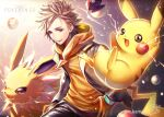 1boy artist_name blonde_hair commentary electricity gen_1_pokemon gloves grey_eyes jolteon looking_to_the_side male_focus n_kamui open_clothes orange_gloves parted_lips pikachu poke_ball poke_ball_(basic) pokemon pokemon_(creature) pokemon_(game) pokemon_go signature spark_(pokemon) spiky_hair