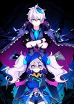 1boy 1girl belt black_gloves blue_coat blue_hair blue_horns blue_neckwear chain ciel_(elsword) closed_mouth coat coat_on_shoulders crossed_arms crown dreadlord_(elsword) elsword fingerless_gloves floating floating_object frown gloves gradient gradient_hair gun hair_between_eyes hair_ornament hairclip half_gloves height_difference hood hood_up horns looking_at_viewer luciela_r._sourcream manamachii multicolored multicolored_hair navel partially_fingerless_gloves pink_hair pointy_ears shaded_face sleeves_past_fingers sleeves_past_wrists sleeves_rolled_up slit_pupils smile thigh-highs torn torn_clothes torn_coat twintails weapon zipper