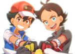 2boys antenna_hair artist_name ash_ketchum bangs baseball_cap black_hair blue_eyes blue_jacket brown_eyes brown_hair chitozen_(pri_zen) cinderace commentary_request dynamax_band eyelashes fist_bump gen_1_pokemon gen_4_pokemon gen_8_pokemon gloves goh_(pokemon) hair_ornament hat jacket looking_at_viewer lucario male_focus multiple_boys open_mouth pikachu pokemon pokemon_(anime) pokemon_(creature) pokemon_swsh_(anime) shirt short_sleeves sleeveless sleeveless_jacket smile teeth tongue white_shirt