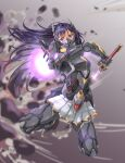 1girl armored_skirt blurry blurry_background dulldull explosion flying full_body glowing glowing_sword glowing_weapon headgear highres joints jumping king's_raid long_hair mask mecha_musume power_armor purple_hair scabbard science_fiction seria_(king's_raid) sheath skirt solo sword thrusters unsheathing very_long_hair violet_eyes weapon window