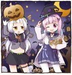 2girls bat blue_hair borrowed_garments cowboy_shot crescent eye_contact fang halloween halloween_bucket hat hololive jack-o'-lantern long_hair looking_at_another minato_aqua miniskirt multiple_girls murasaki_shion purple_hair silver_hair skirt smile tonton_(tonz159) virtual_youtuber witch_hat