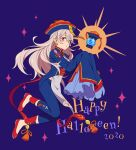 1girl chinese_clothes corrin_(fire_emblem) corrin_(fire_emblem)_(female) cosplay earrings ena_(fire_emblem) ena_(fire_emblem)_(cosplay) fire_emblem fire_emblem_fates fire_emblem_heroes floating floating_object full_body halloween_costume happy_halloween hat hiyori_(rindou66) jewelry jiangshi_costume long_hair ofuda pointy_ears qing_guanmao red_eyes simple_background solo white_hair
