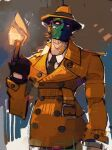 fire g_(street_fighter) green_mask looking_at_viewer michaelfirman necktie pointing pointing_up street_fighter trench_coat violet_eyes
