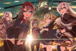5girls 9a-91_(girls_frontline) aircraft beret blue_eyes braid cowboy_shot fingerless_gloves girls_frontline gloves gun hair_ornament hairclip hands_on_thighs hat headset helicopter holding holding_gun holding_weapon leggings long_hair looking_at_viewer mi-24 military military_uniform mismatched_legwear multiple_girls open_mouth ots-12_(girls_frontline) panties pk_(girls_frontline) ponytail red_eyes rifle sayossa_(pak-front) side-tie_panties silver_hair skindentation sniper_rifle star_(symbol) star_hair_ornament sunset sv-98 sv-98_(girls_frontline) svd_(girls_frontline) thigh-highs underwear uniform very_long_hair weapon