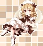 1girl bangs black_bow black_neckwear blonde_hair book book_on_lap bow bowtie brown_eyes closed_mouth crossed_legs dress drill_locks eyebrows_visible_through_hair fairy_wings frilled_dress frills full_body grid_background hair_between_eyes holding holding_eyewear looking_at_viewer luna_child medium_hair multiple_bows petticoat ruu_(tksymkw) short_sleeves smile solo touhou white_dress white_footwear white_headwear wings yellow_wings
