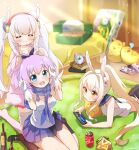 3girls :d ^_^ alarm_clock animal_ears aqua_eyes ayanami_(azur_lane) azur_lane bangs bed bed_sheet bird black_legwear blue_skirt blurry bottle bunny_pose can carpet cellphone chick chips clock closed_eyes cola collarbone commentary_request depth_of_field eyebrows_visible_through_hair eyes_visible_through_hair fake_animal_ears food from_above gloves hair_ribbon hairband headgear highres holding jacket javelin_(azur_lane) kaorun_(momiji_hourensou) kneehighs kneeling laffey_(azur_lane) long_hair looking_at_viewer looking_up lying manjuu_(azur_lane) midriff multiple_girls no_shoes on_stomach open_mouth orange_eyes parted_lips phone platinum_blonde_hair playing_games pleated_skirt ponytail potato_chips purple_hair rabbit_ears red_skirt ribbon school_uniform serafuku sidelocks signature sitting skirt smartphone smile snack soda_can thigh-highs twintails wariza white_gloves white_hair white_legwear wine_bottle zettai_ryouiki