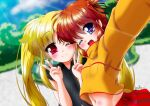 2girls blue_eyes blush brown_hair couple fate_testarossa happy highres lyrical_nanoha mahou_shoujo_lyrical_nanoha mahou_shoujo_lyrical_nanoha_a's midriff misril multiple_girls navel open_mouth red_eyes self_shot short_twintails smile stomach takamachi_nanoha twintails twintails_day yuri