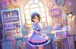 black_eyes black_hair blush dress idolmaster_cinderella_girls_starlight_stage sasaki_chie short_hair smile