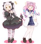 2girls alternate_costume animal_ear_fluff animal_ears bangs bare_shoulders black_dress blush bow casual cat_ears cat_tail commentary_request detached_sleeves dress eyebrows_visible_through_hair fang full_body gothic_lolita halter_dress highres hololive intertwined_tails lolita_fashion long_hair low_braid medium_hair minato_aqua multiple_girls murasaki_shion open_mouth pantyhose silver_hair simple_background smug surprised tail tail_bow tail_ornament tonton_(tonz159) twintails violet_eyes virtual_youtuber white_background yellow_eyes